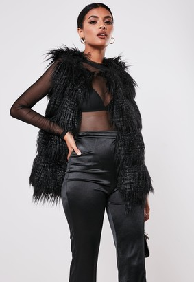 Missguided Petite Black Faux Mongolian Fur Bubble Gilet