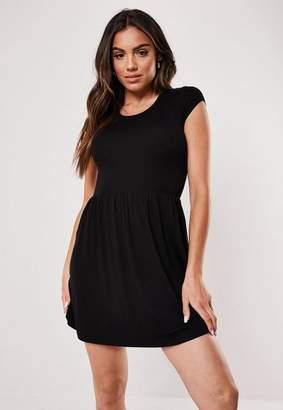 Missguided Petite Black Short Sleeve Skater Dress
