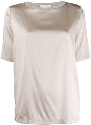 Fabiana Filippi Short-Sleeve Silk Top