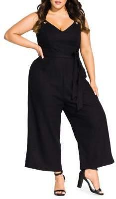 City Chic Plus So Breezy Belted Jumpsuit