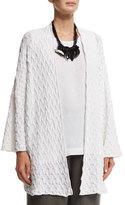 eskandar 3/4-Sleeve Open-Front Cardigan, White