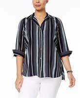 NY Collection Petite Plus Size Multi-Stripe Shirt