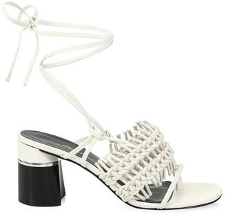 3.1 Phillip Lim Drum Ankle-Strap Crochet Leather Sandals