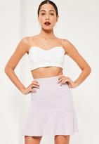 Missguided Purple Jersey Crepe Frill Hem Mini Skirt