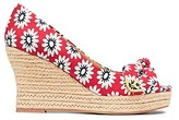 Tory Burch Dory Printed Peep-Toe Espadrilles Wedges