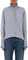Nili Lotan Women's Vivian Ruffle-Trimmed Chambray Shirt-BLUE
