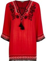 River Island Womens Red embroidered smock top