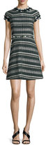 Tory Burch Norfolk Short-Sleeve A-Line Tweed Dress, Horseback Tweed