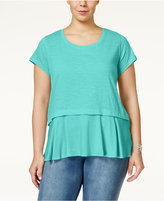 Style&Co. Style & Co. Plus Size Short-Sleeve Flounce-Hem Top, Only at Macy's
