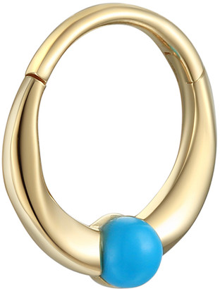 Pamela Love 8mm Floating Turquoise Clicker Single Hoop Earring - Yellow Gold