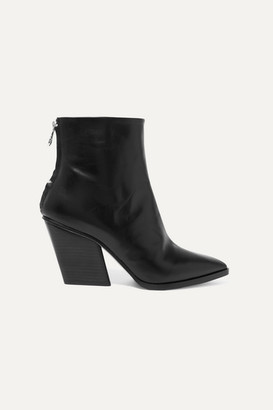 AEYDĒ Cherry Leather Ankle Boots - Black