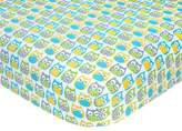 Carter's Owl Sateen Fitted Crib Sheet in Blue/Yellow