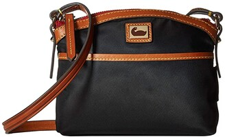 Dooney & Bourke Camden Domed Crossbody (Black/Dark Chocolate Trim) Cross Body Handbags