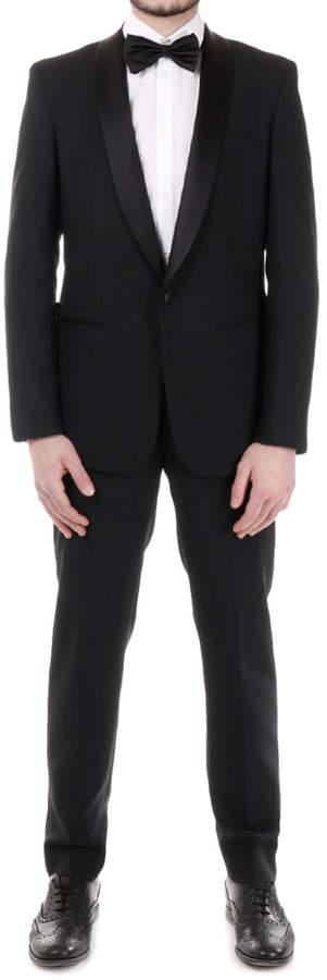 Maison Margiela (メゾン マルジェラ) - Maison Margiela モヘヤ混xシルク混 ショールカラー ジャケット & 側章パンツ<セットアップスーツ> ブラック 46