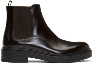 Giorgio Armani Brown Leather Chelsea Boots