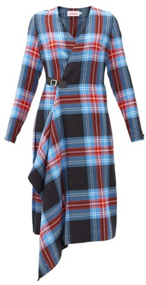 Charles Jeffrey Loverboy Tartan-check Asymmetric-hem Wool-twill Wrap Dress - Multi