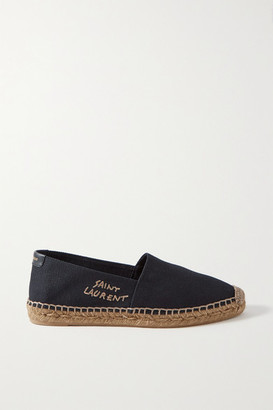Saint Laurent Logo-embroidered Canvas Espadrilles - Black