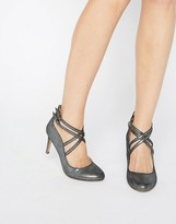 Head Over Heels By Dune Alisha Cross Strap Pewter Heeled Shoes