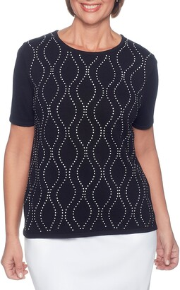 Alfred Dunner Women's Petite Vertical Waves Sweater