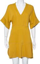Thumbnail for your product : Chloé Mustard Yellow Knit Asymmetrical Hem Mini Dress S