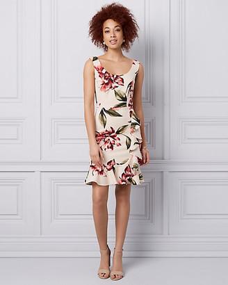 Le Château Floral Print Knit Crepe Scoop Neck Dress