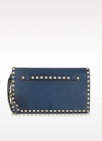 Valentino Rockstud Navy Blue Leather Clutch