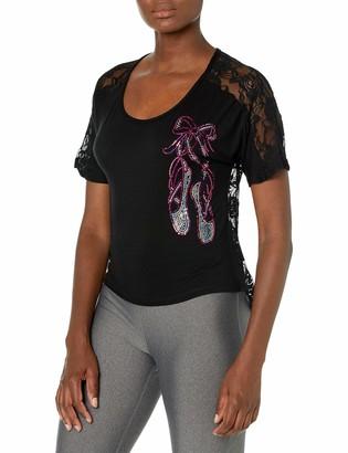 Gia Mia Dance Women's Slipper Lace Back Tee Sequin Jazz Ballet Performance Team