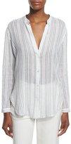 Vince Striped Split-Neck Button-Down Shirt