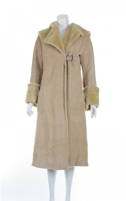 Brioni Beige Leather Coat for Women