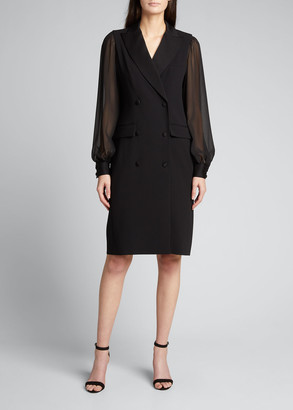 Rickie Freeman For Teri Jon Georgette Bishop-Sleeve Crepe Tuxedo Dress