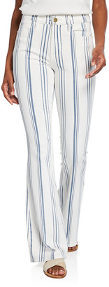 Frame Le High Flare Striped Jeans