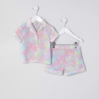 River Island Mini girls Pink RIR tie dye satin pyjama set