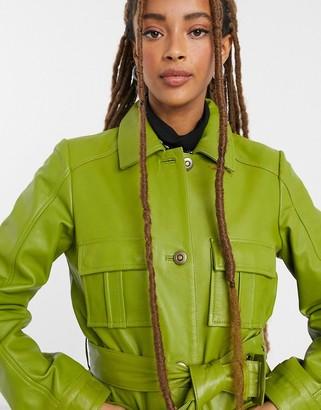 Muu Baa Muubaa utility tie-waist leather jacket in sage