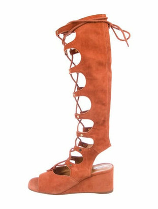 Chloé Suede Gladiator Sandals Red