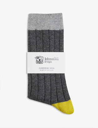 Johnstons Colour-block cashmere socks