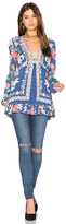 Free People Violet Hill Printed Tunic Top in Blue. - size 2 (also in )