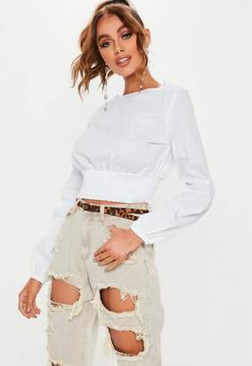 Missguided White Shirred Waist Puff Sleeve Blouse