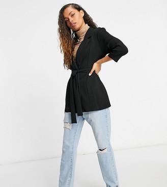 ASOS DESIGN Petite jersey wrap suit blazer in black