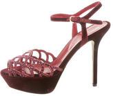 Sergio Rossi Embellished Velvet Sandals