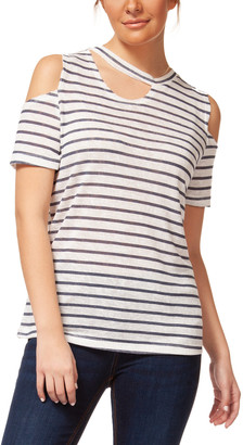Off-White Devoted Women's Blouses 91706-OFF Nautical Stripe Cutout Linen-Blend Cold-Shoulder Tee - Women