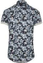River Island Blue Floral Short Sleeve Slim Fit Shirt