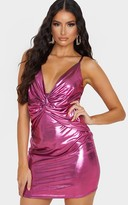 Independ Pink Metallic Strappy Knot Detail Bodycon Dress