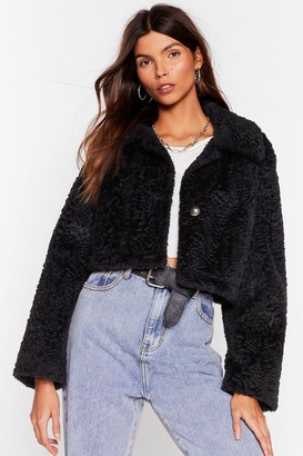 Nasty Gal Womens Fur Cropped Jacket - black - S/M