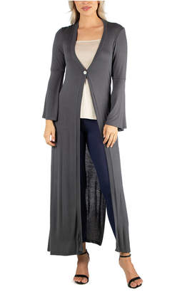 24Seven Comfort Apparel Women Long Sleeve Maxi Length Cardigan