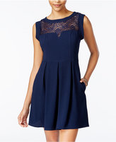 Speechless Juniors' Lace-Trim Pleated Dress