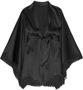 La Perla Azalea Leavers Lace-trimmed Stretch-silk Robe - Black
