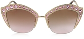 Gucci GG0114S Metal Cat Eye Women's Sunglasses w/Crystals