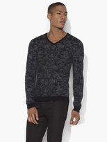 John Varvatos Pixelated V-Neck Sweater
