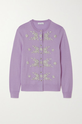 Paco Rabanne Embellished Embroidered Merino Wool Cardigan - Lilac