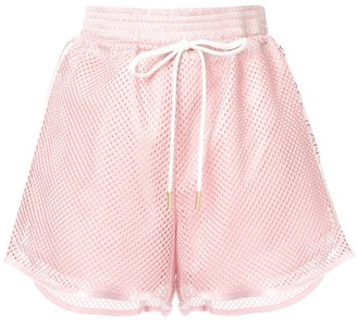 Versace logo stripes perforated shorts